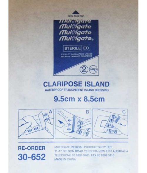 MW208 Multigate Claripose Transparent Dressing 9.5cm x 8.5cm back