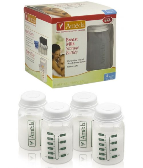 Ameda Breast Milk Storage Bottles 4 Pack