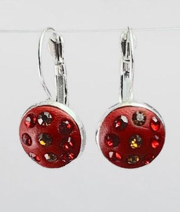 Small Apoxy inlaid with Orange and Red Crystal Earrings